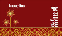 Red and Gold Floral Business Card Template